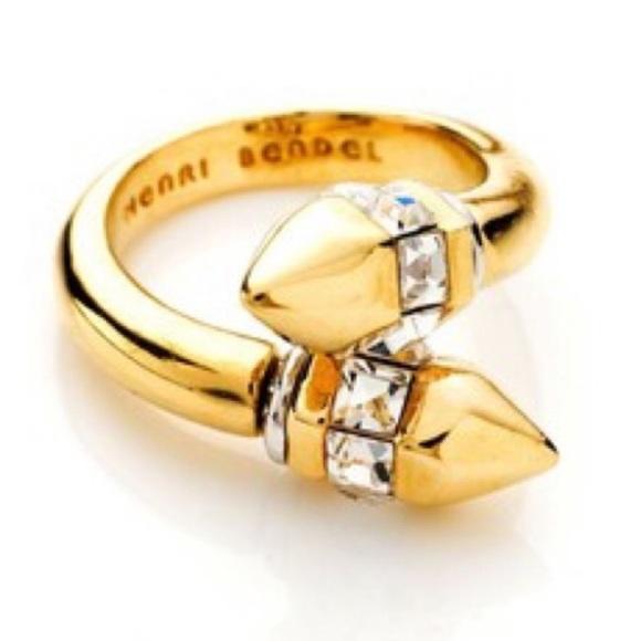 henri bendel Jewelry - Henri Bendel Gold Wrap Ring with Crystal details